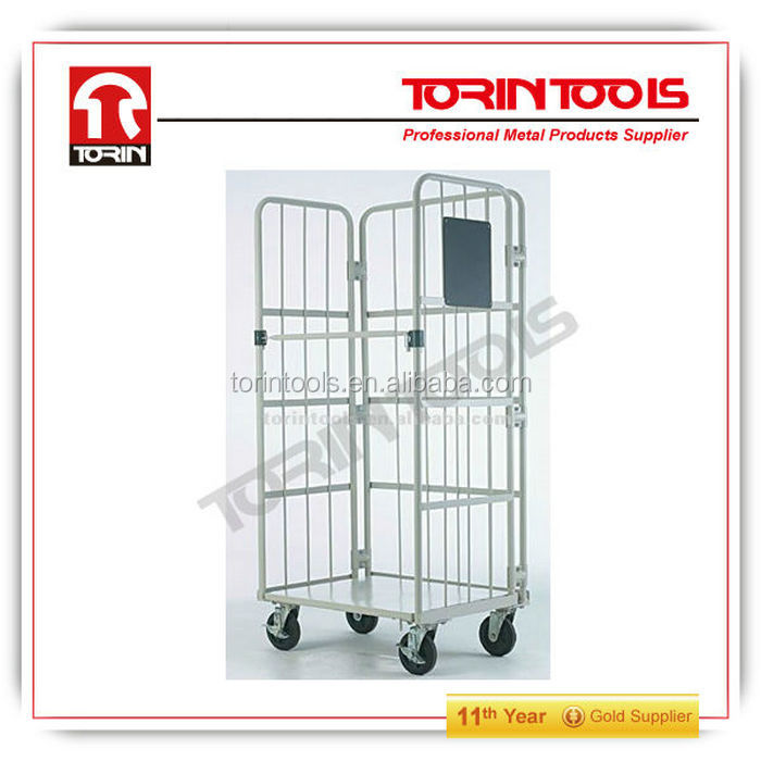 New Arrival Big Size Powder Coating Warehouse Trolley With 4 Wheels