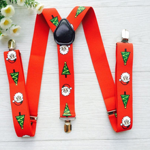 3 metal clips customized big Red machine printing Santa claus pattern suspender for adult