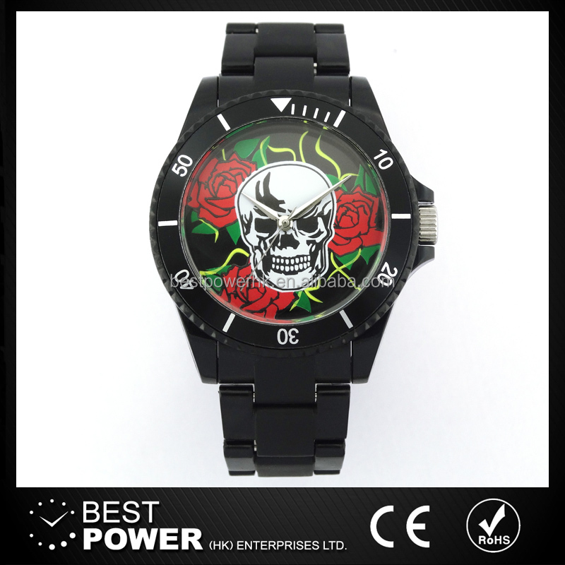 customized printing three hands fashion plastic watches