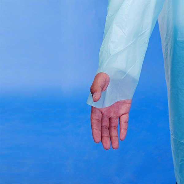 disposable CPE thumb hook gown for medical use