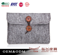 New Grey Felt Sleeve Case Envelope Magnetic Snap For iPad Tablet Bag