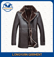 mid-long high quality man leather jacket with fur collar