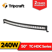 single row LED Ramper light bar 50inch, curved led lighting bar 240w 20400LM Offroad Extra ljus lampor for cars