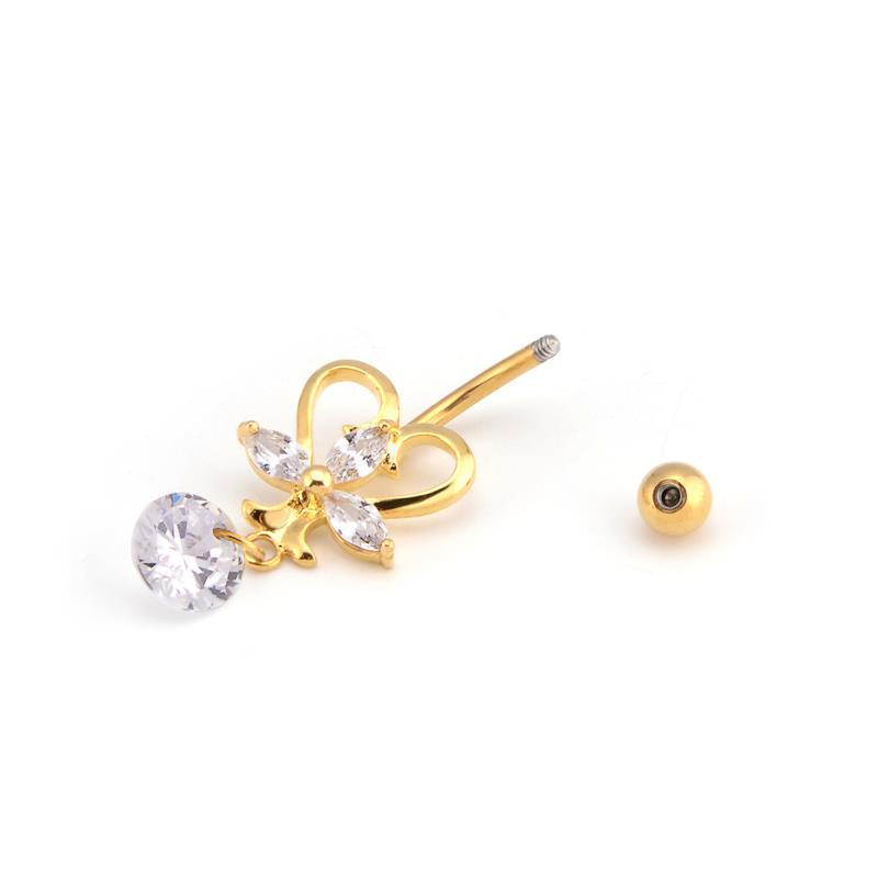 New arrival beautiful PVD gold plated dangle belly navel jewelry cz belly ring for women