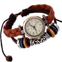 wood beads Retro Style Real Leather Weave Wrap watch