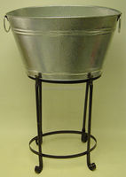 Galvanized oval beverage bin with K/D stand