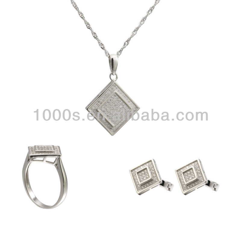 New Arrival High Quality 925 Silver Square Bridal Earring&Pendant&Ring Set Jewelry with CZ