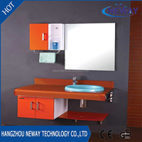 New hign quality glass bathroom small size wash basin with side cabinet