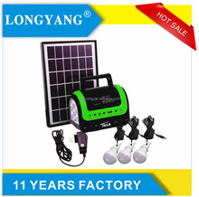 Portable solar home system kit include 5W solar panel / 3W bulbs / mobile charge solar lighting radio system