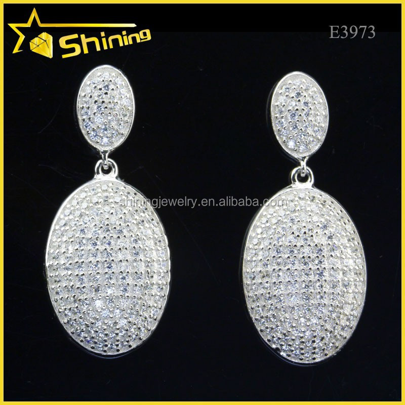 925 sterling silver aaa zircon micro pave dangle earrings nickel free earring findings