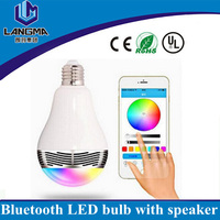 Langma colors changeable music playing bluetooth smart led light bulb with speaker
