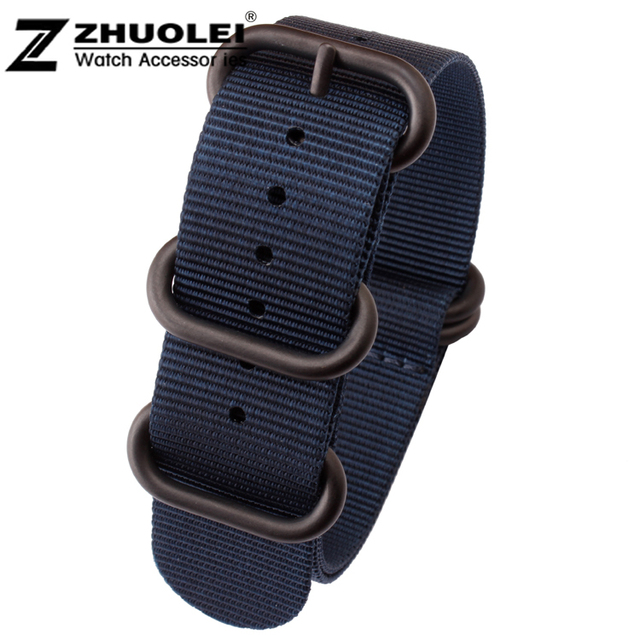 New 22mm 24mm ZULU NATO Bule Military Watch Strap Band Strong Heavy Duty Nylon Divers Brushed Buckle