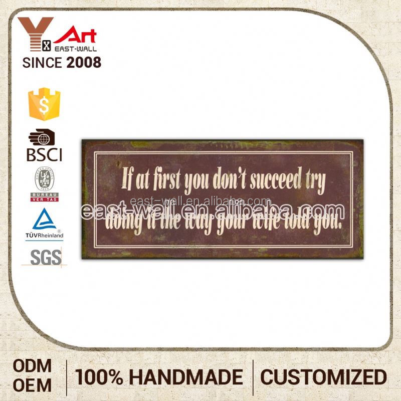 Best Seller Get Your Own Designed Oem Production French Country Tuscan Style Metal Signs For Bags