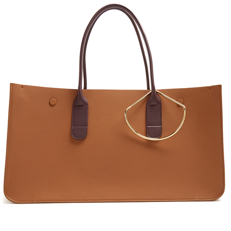 Grained contrast-handle leather tote bag