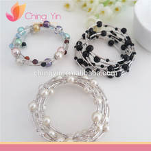 Lady fashion Accessories Colorful Fancy Pearl beads wire bangle bracelet