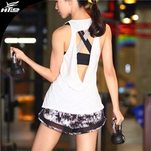 Stock Wholesale Back hollow gym Sports mesh wear women running fitness machines training yoga Vest