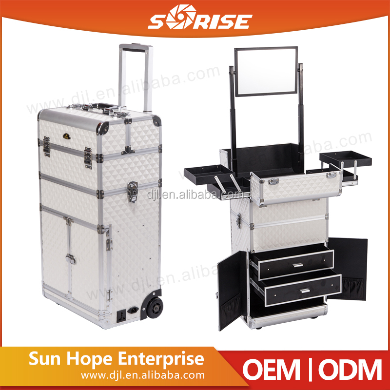 Professional Aluminum Cosmetic Case Trolley Makeup Case Drawers Trays With Mirror