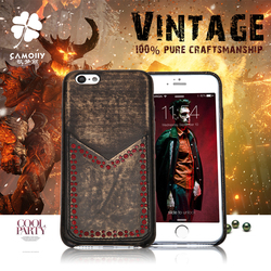 china supplier wholesale cowhide vintage brush copper genuine leather back cover phone case for iphone 6S with back card holder