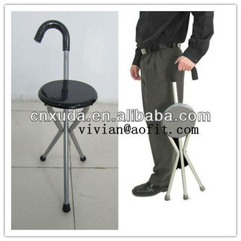 Folding Portable Travel Cane Walking Stick Seat Camp Stool