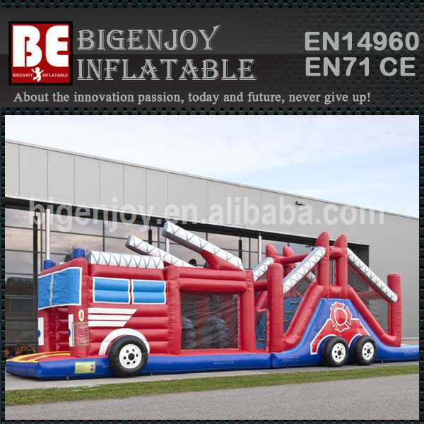 Inflatable Obstacle run fire truck for sale
