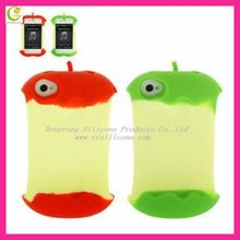 Silicone case-max red apple shape case for iphone 4/4S/iphone 5 back with with stereoscopic bow charms