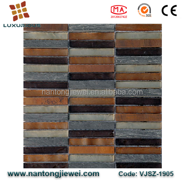 Building and Decorative Materials Kitchen Backsplash Linear Stone Glass Mosaic Tile for Home Interior Design