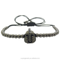 High quality 6mm round beads & CZ micro pave spartan helmet bracelet (MB-0654)