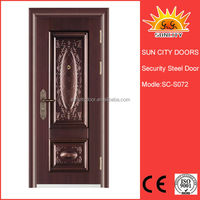 Decorative steel door with beaded frame