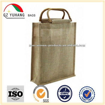 3bottles cane handle jute carry bag (jute burlap gift bag)