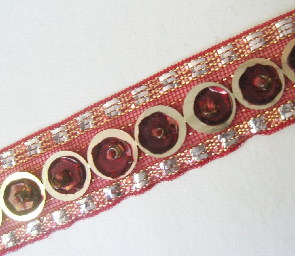 HANDMADE BEADED SEQUIN TRIM BORDER LACE