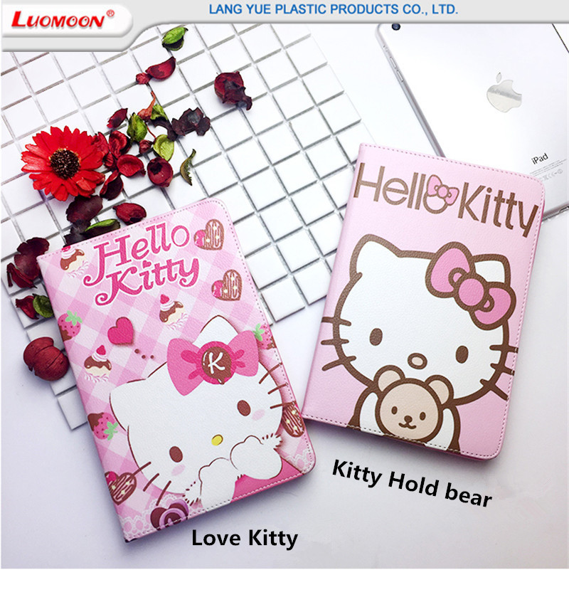 Japan Hot Selling For Hello Kitty Pattern Flip Leather Cover Cases For Apple iPad Mini 1/2/3 Cute Cartoon Pattern Flip Cases