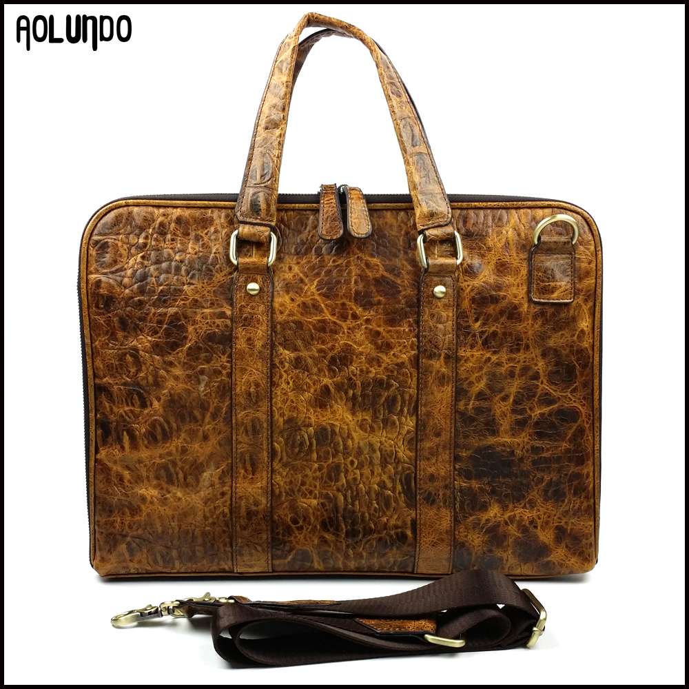 Genuine leather crocodile skin executive briefcase for men