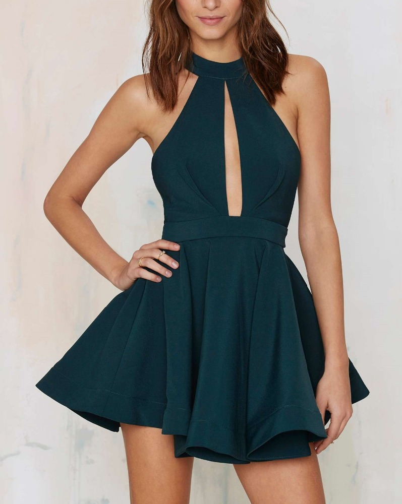 Elegant women mini dress cut out sleeveless green skater dress