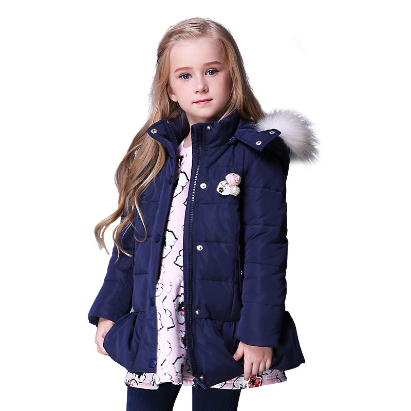 Wholesale new arrival girls down jacket fur collar coat hood slant pocket children/kid down coat