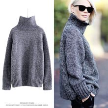 Christmas fashion roll-neck long sleeve loose fit casual girls woman knitted woolen sweater designs top pullover