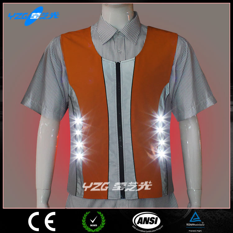 orange wholesale LED luminous reflective workwear construction safety equipment