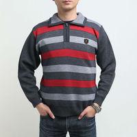 men's acrylic sweater front striped zip front