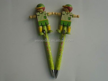 promotional cute wooden sports boy puppet pen for children