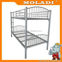 Black/red strong frame metal bunk bed for school dormitory