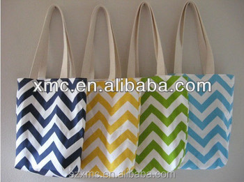 Hot sale custom design canvas tote bag chevron bag