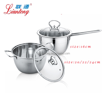 Cheap 16cm 20cm 22cm 24cm stainless steel cooking set milk boiling pot
