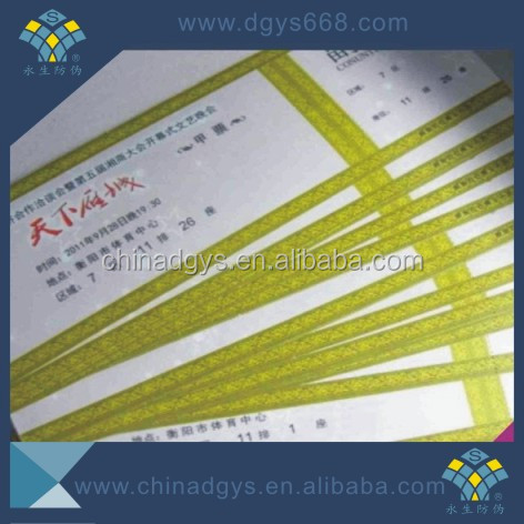 Thermal paper security entrance ticket