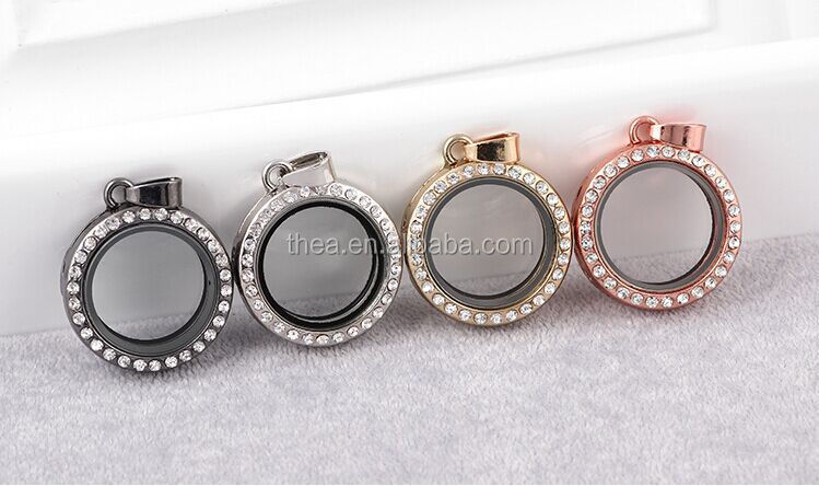 Fashion lady jewelry 60mm round locket with silver crystal making necklace diy jewelry