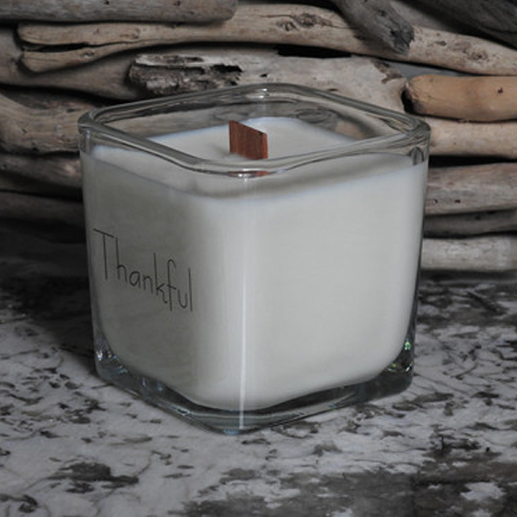 square glass jar luxury gift scented message printed wooden wick oil perfume candle