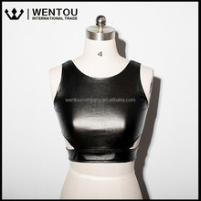 Wholesale Women's Fashion Sexy Hot Slim Sleeveless Leather Crop Top