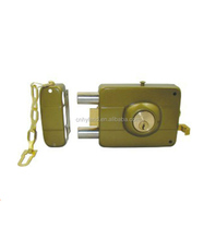 China manufacturer OEM / ODM zinc die cast night latch 60mm backset jimmy proof lock with chain for exterior wood doors 5681