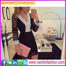 Sexy white and black long sleeve deep V neck bodycon lace dress