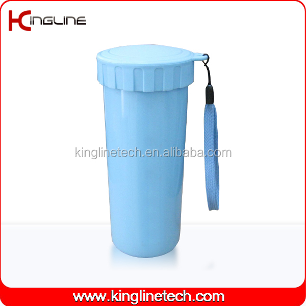 400ml plastic double wall cup with lanyard for world cup 2014 souvenir (KL-5017)