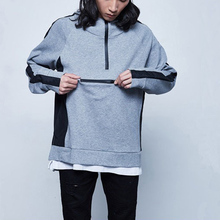 Doulble layer collar two color plain mens oversized blank custom logo unisex pullover hoodies with pocket cheap wholesale price