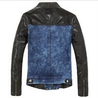 European style fashion slim fit PU leather sleeve splice jean jacket wholesale M/L/XL/2XL